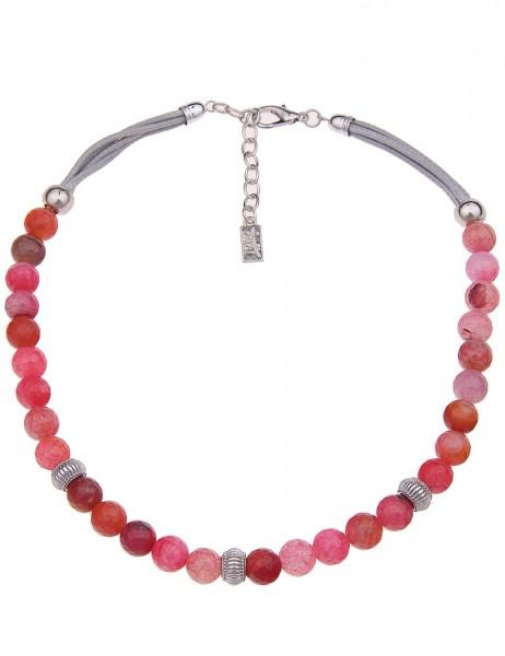 Leslii Damenkette Mirella Steinschliff Collier aus Naturstein mit Textil Länge 45cm in Pink Silber
