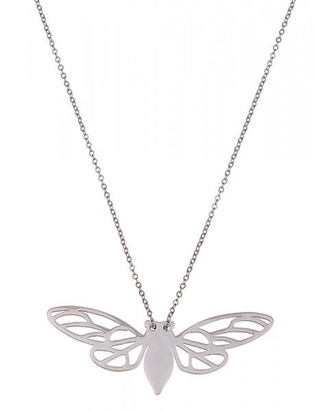 -70% SALE Leslii Halskette Schmetterling Silber | lange Damen-Kette Mode-Schmuck | 84cm + Verlängeru