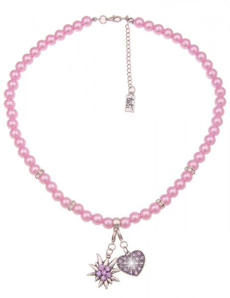 Leslii Damen-Kette Herz-Anhänger Edelweiß Oktoberfest Wiesn Dirndl rosa Perlen-Kette kurze Modeschmu