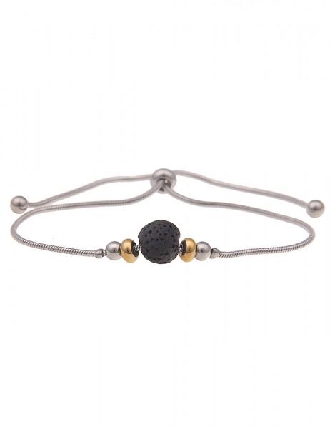 Leslii Damen-Armband echter Lava-Stein schwarzer Lava-Schmuck Kugel-Armband Modeschmuck-Armband in S