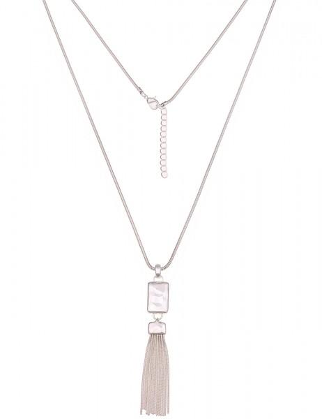 Leslii Damenkette Glanz Bommel aus Metalllegierung Länge 75cm in Silber Hochglanz