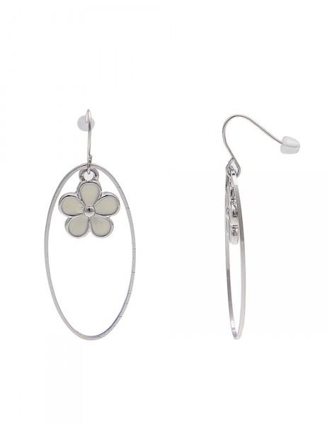 Leslii Damen-Ohrringe Ohrhänger Blüten Oval Silber Weiß Metalllegierung 4,9cm 230216020