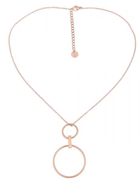Leslii Damenkette Doppel Ring aus Metalllegierung Länge 39cm in Rosé