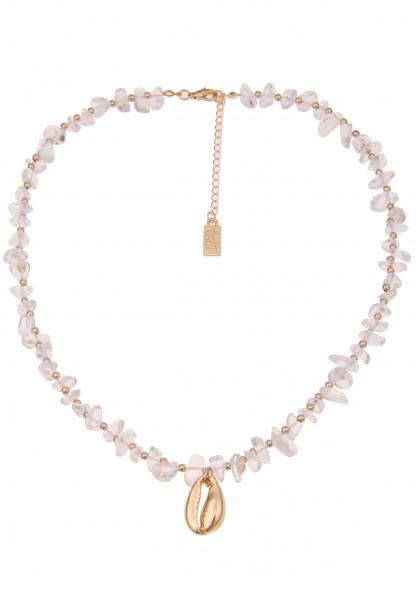 Leslii Damenkette Clara Muschel-Kette Collier Steinkette Halskette Modeschmuck Länge 45cm in Gold We
