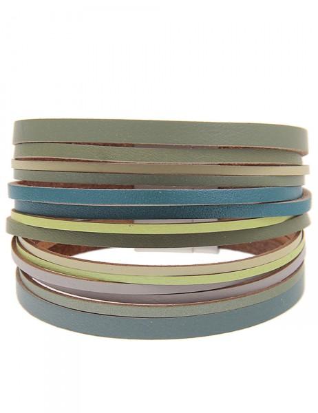 -50% SALE Leslii Damen-Armband Farbenspiel Grün Lederimitat Metalllegierung Länge: 19.5cm Magnetschl
