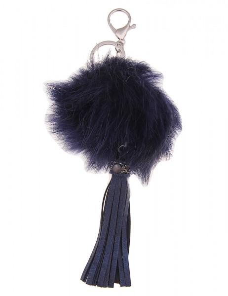 -50% SALE Leslii Damen Schlüsselanhänger Fluffy aus Kunstfell mit Lederimitat Länge 23cm in Blau