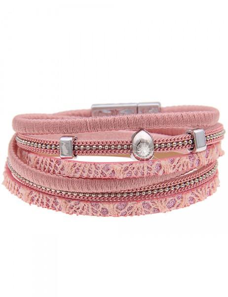 Leslii Damen-Armband Wickelarmband Metallic-Look Lederimitat 39,5cm mit Magnet-Verschluss 260115951