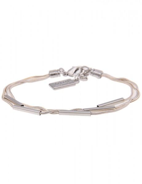 Leslii Damen-Armband Glanz Stäbe Silber Weiß Gold Metalllegierung 18cm + Verlängerung 260116583