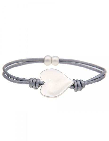 Leslii Damenarmband Klassik Herz aus Lederimitat mit Metalllegierung Länge 19cm mit Magnet-Verschlus