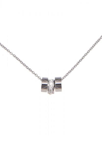 Leslii Damen-Kette Premium Quality Ring-Glanz Edelstahl Strass 45cm + Verlängerung 210113796
