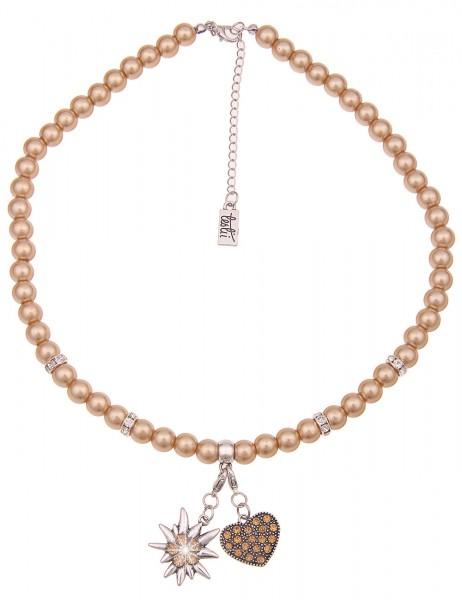 Leslii Damen-Kette Herz-Anhänger Edelweiß Oktoberfest Wiesn Dirndl braune Perlen-Kette kurze Modesch