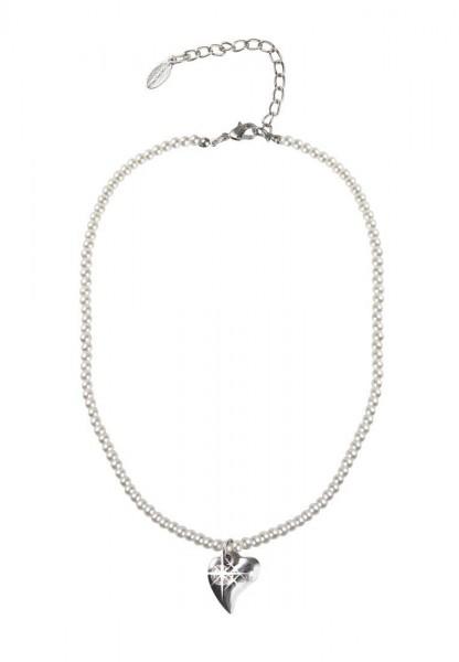 LAST CHANCE! Leslii Kurze Halskette Alpenrock Herz in Weiß