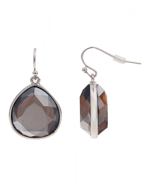 -70% SALE Leslii Ohrhänger Funkel-Tropfen Braun Silber | Trendige Damen-Ohrringe | Mode-Schmuck | Lä