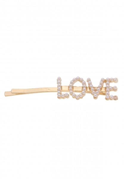 Leslii Damen Love Liebe Haar-Spange Perlen-Haarschmuck weiße Haar-Klammer Frisur Perlen-Schmuck Mode