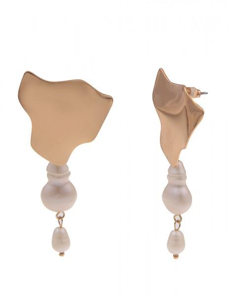Leslii Damen-Ohrringe Ohrhänger weiße Perlen-Ohrringe echte Süßwasser-Zuchtperlen goldene Modeschmuc