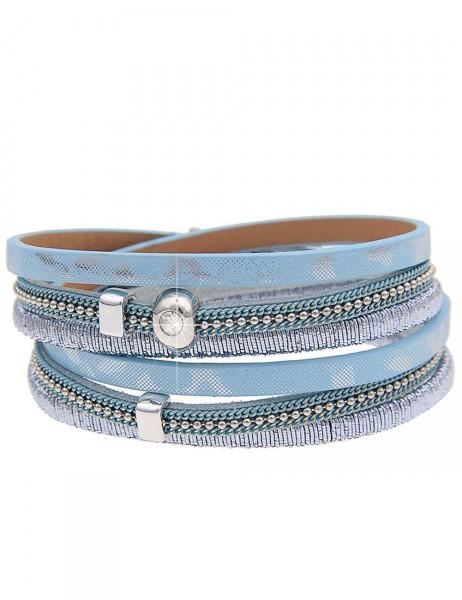 Leslii Damen-Armband Wickelarmband Metallic-Look Lederimitat 39,5cm mit Magnet-Verschluss 260115950