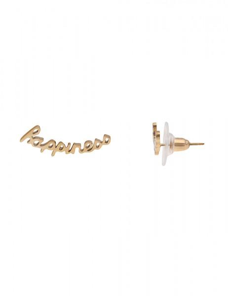 Leslii 4Teen Damenohrringe Ohrstecker Happiness aus Metalllegierung 0,5cm und 2,2cm in Gold