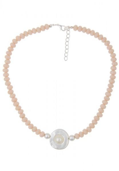 Last Chance Leslii Kurze Halskette Agate in Beige Silber