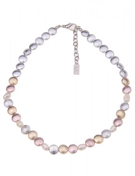 Leslii Damenkette Collier Diana aus Metalllegierung mit Perlen Länge 45cm in Silber Gold Rosé