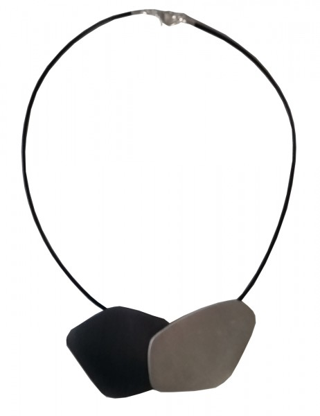 Leslii Damenkette Matt Look aus Textil mit Metalllegierung Länge 48cm in Schwarz Silber