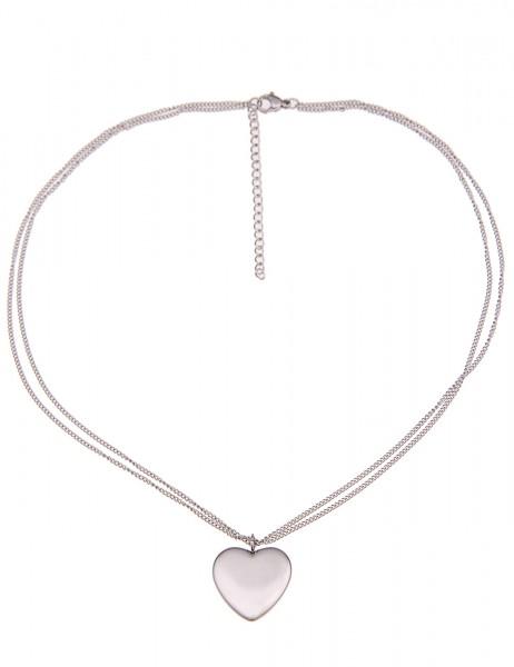 Leslii Damenkette Classic Herz aus Metalllegierung Länge 43cm in Silber Hochglanz