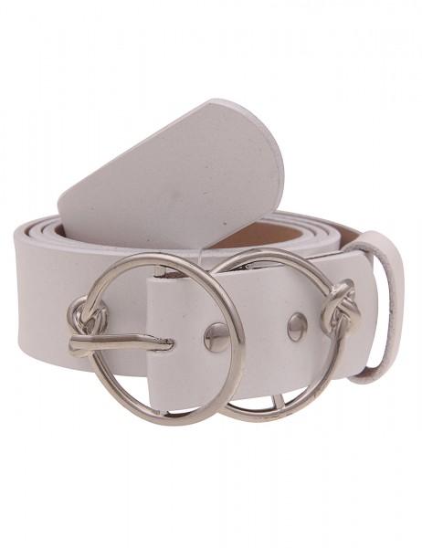 Leslii Damen-Gürtel doppelte Ring-Schließe Knoten Hochglanz echter Leder-Gürtel weißer Gürtel Basic-