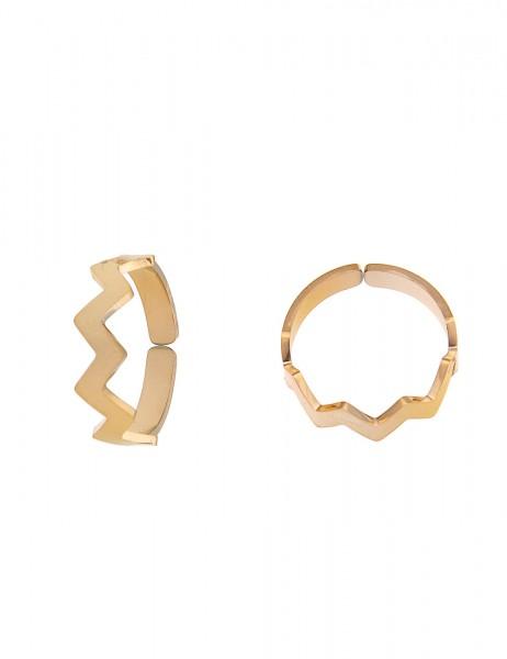 Leslii 4Teen Damenring Zick Zack aus Metalllegierung Größe verstellbar in Gold