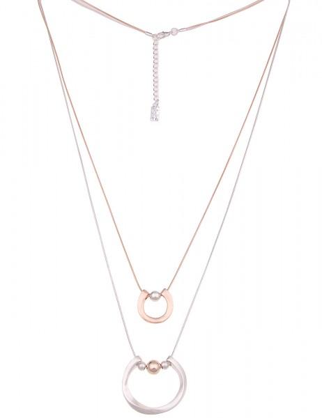 Leslii Damen-Kette Bicolor Trend Silber Rosé Metalllegierung Matt 82cm + Verlängerung 220116782