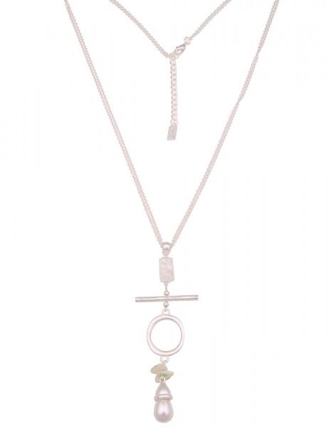 Leslii Damen-Kette Stein-Kette Naturstein Glieder-Kette weiße Perle lange Halskette silberne Modesch
