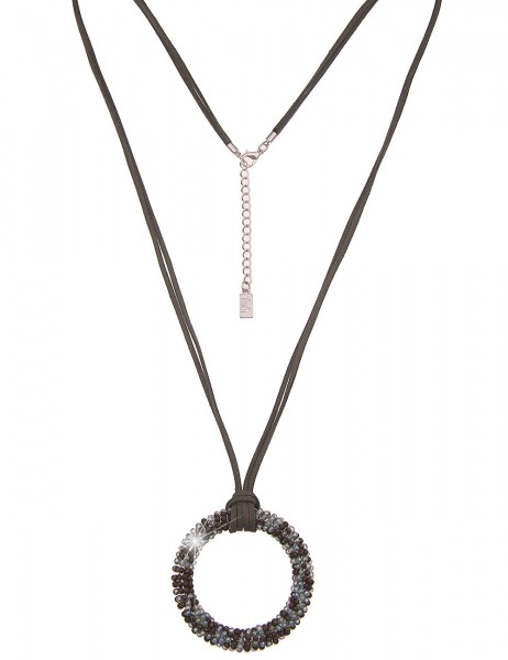 Leslii Damenkette runder Anhänger Glasperlen vegane Leder-Kette lange Halskette grüne Modeschmuck-Ke