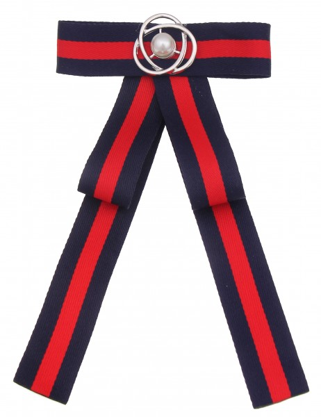 -50% SALE Leslii Damen Anstecknadel Statement Brosche Schleife Blau Rot Textil Perle 18cm x 10,5cm 2