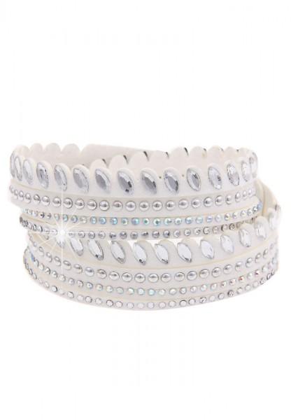 -70% SALE Leslii Wickel-Armband Glitzer Nieten Weiß | modisches Damen-Armband Mode-Schmuck | Länge: