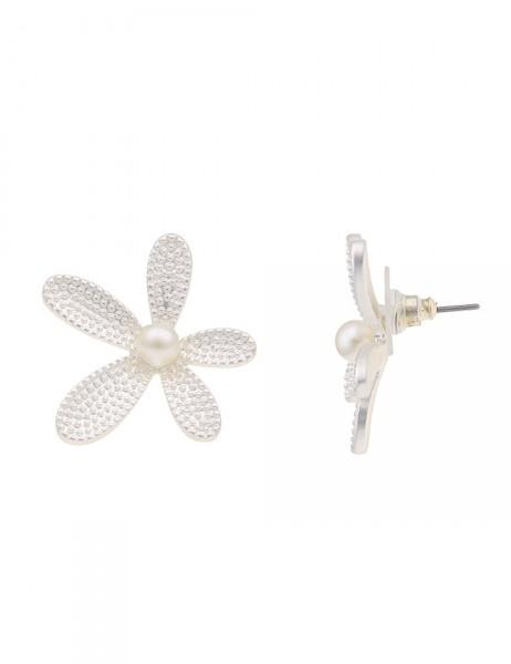 -50% SALE Leslii Damen-Ohrringe Ohrstecker Perlen-Blüte Silber Weiß Metalllegierung Perle 2,8cm 2301
