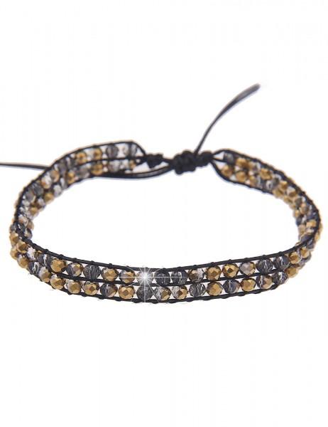 Leslii Damenarmband Western Style aus Textil mit Glasperlen Größe verstellbar in Schwarz Gold