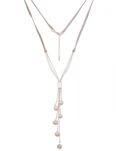 Leslii Damenkette Perlen-Kette vegane Leder-Kette echte Süßwasser-Zuchtperlen beige Modeschmuck-Kett