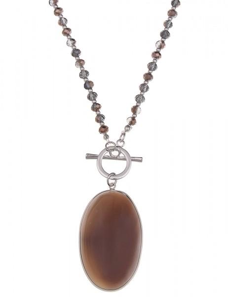 -50% SALE Leslii Premium Quality Halskette Achat Stein Grau Braun | lange Damen-Kette Mode-Schmuck |
