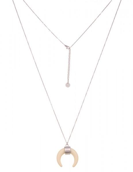 Leslii Damenkette Horn-Look zarte Glieder-Kette lange Halskette filigran silberne Modeschmuck-Kette