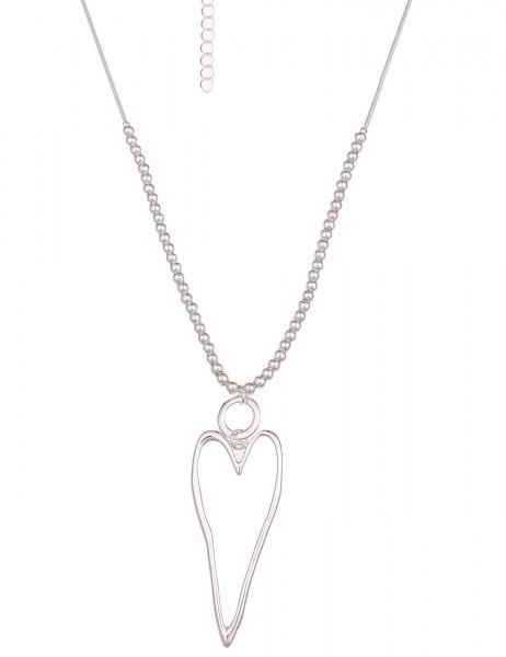 Leslii Halskette Herztanz Silber | lange Damen-Kette Mode-Schmuck | 86cm + Verlängerung