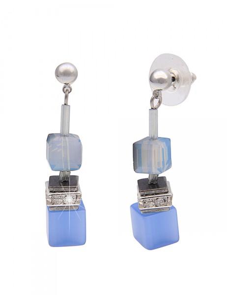 Leslii Premium Quality Damen-Ohrringe Ohrhänger Glitzer-Würfel Hellblau Metalllegierung 4cm 23011574
