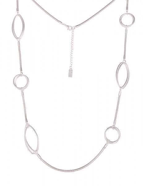 -50% SALE Leslii Halskette Glieder Formen Silber | lange Damen-Kette Mode-Schmuck | 90cm + Verlänger