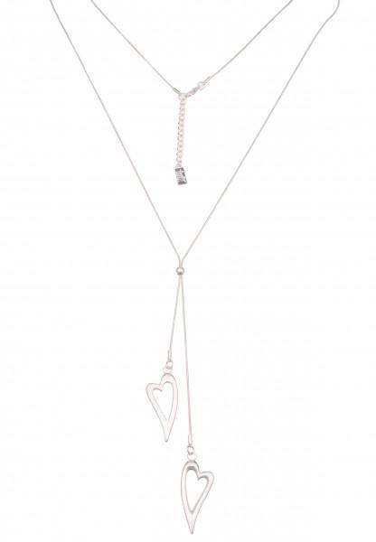 Leslii Damenkette Y-Kette Herz-Kette Schlangenkette Herzen lange Halskette silberne Modeschmuck-Kett