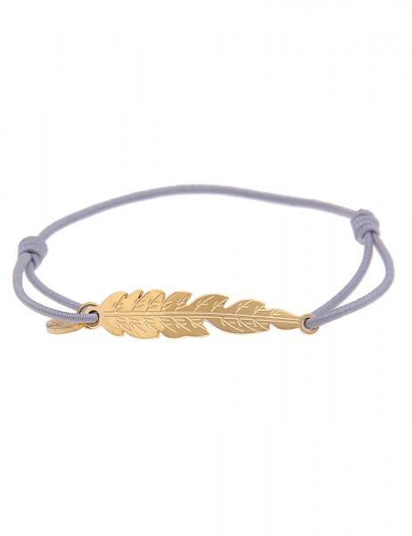 Leslii 4Teen Damenarmband Feder aus Metalllegierung mit Textil Länge verstellbar in Grau Gold