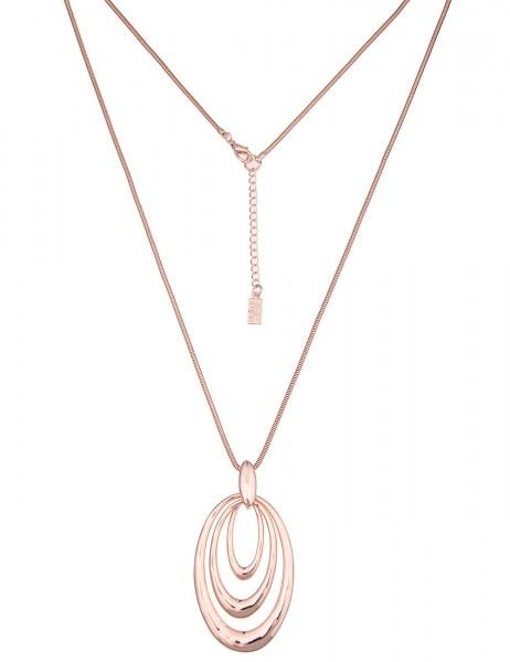 Leslii Damen-Kette Trio Oval Rosé Metalllegierung Hochglanz 84cm + Verlängerung 220116756