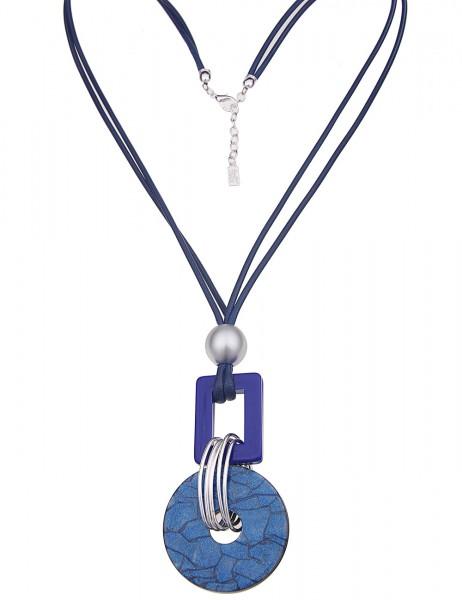Leslii Damenkette Glitzer Ring Muster Statement Halskette Modeschmuck aus Textil mit Kunststoff Läng