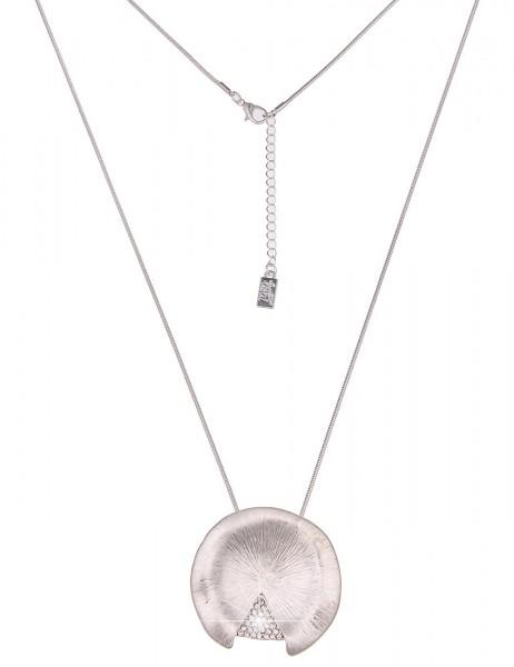 Leslii Damenkette Glitzer Dreieck aus Metalllegierung mit Strass Länge 82cm in Silber Matt