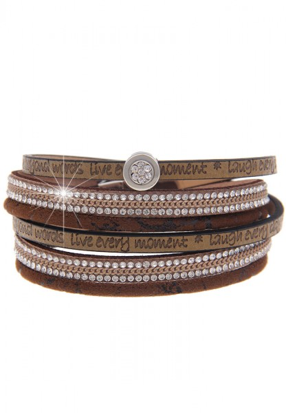 LAST CHANCE Leslii Glitzer Words Braun | Trendiges Wickelarmband | Damen Mode-Schmuck | 40cm