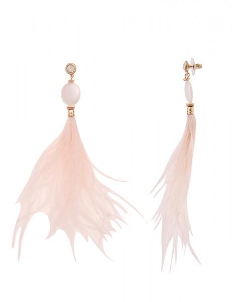 -50% SALE Leslii Damen-Ohrringe Ohrhänger Perlmutt Federn Rosa Gold Metalllegierung Perlmutt 14cm 23