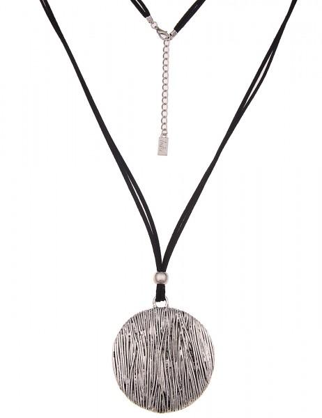 Leslii Damenkette Statement Look aus Lederimitat mit Metalllegierung Länge 76cm in Schwarz Silber