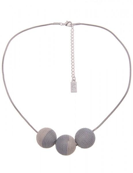 Leslii Damenkette Ketten-Kugeln aus Metalllegierung Länge 46cm in Silber Grau Weiß