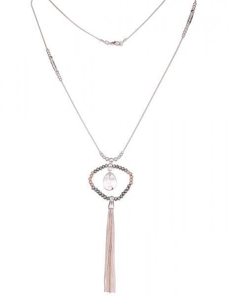 Leslii Damen-Kette Glasperlen Ring Silber Rosé Metalllegierung Hochglanz 73cm + Verlängerung 2201169